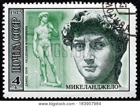 RUSSIA - CIRCA 1975: a stamp printed in Russia shows David Sculpture by Michelangelo Italian Sculptor Painter and Architect circa 1975