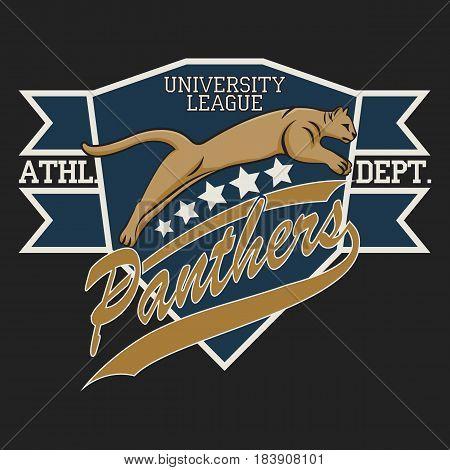 Panther Sport t-shirt graphics, Vintage Apparel typography, Artwork stamp print design, wild big cat.