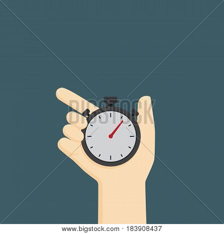 Time control illustration, hand holding analog stopwatch