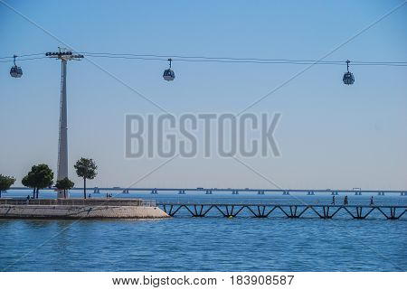 Chairlift gondola cabins moving above the sea in Lisbon, Portugal