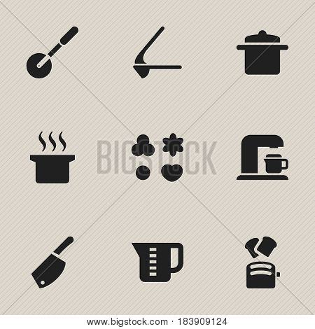 Set Of 9 Editable Cook Icons. Includes Symbols Such As Crusher, Mensural, Soup Pot And More. Can Be Used For Web, Mobile, UI And Infographic Design.