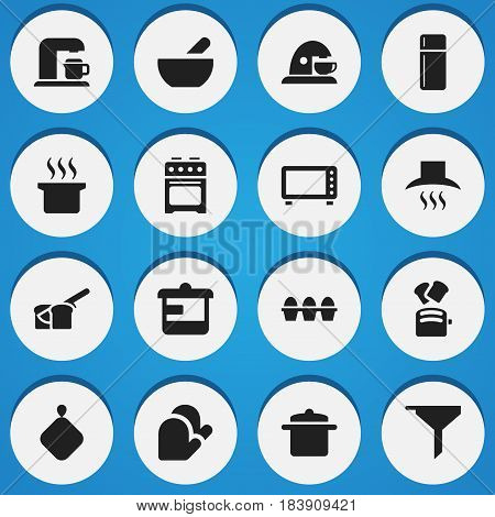 Set Of 16 Editable Food Icons. Includes Symbols Such As Stove, Soup Pot, Drink Maker And More. Can Be Used For Web, Mobile, UI And Infographic Design.