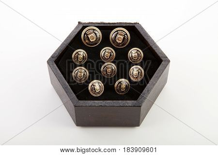 Men's Cufflinks On White Background.