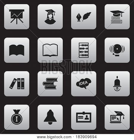 Set Of 16 Editable Science Icons. Includes Symbols Such As Certification, Mind, Arithmetic And More. Can Be Used For Web, Mobile, UI And Infographic Design.