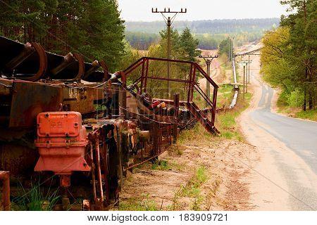 Industrial Conveyor Belt. Construction Industry. Sand Quarry