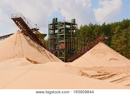 Quarry Aggregate With Conveyor Belt. Construction Industry. Horizontal  Photo