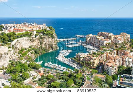Monaco with Prince's Palace and Oceanographic Museum. Mediterranean Sea. French riviera