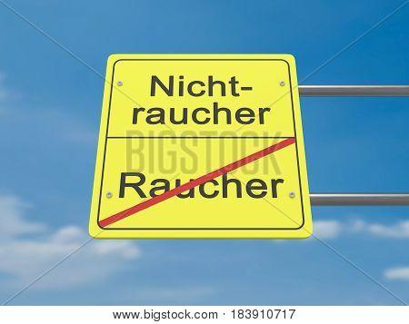 Health Concept Road Sign: Raucher und Nichtraucher Meaning Smoker And Non-Smoker In German Language 3d illustration