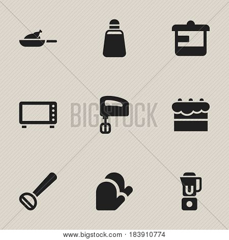 Set Of 9 Editable Food Icons. Includes Symbols Such As Agitator, Husker, Kitchen Glove And More. Can Be Used For Web, Mobile, UI And Infographic Design.