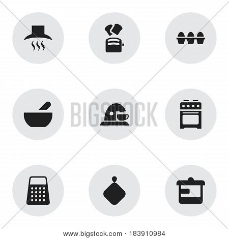 Set Of 9 Editable Cooking Icons. Includes Symbols Such As Soup, Kitchen Hood, Utensil And More. Can Be Used For Web, Mobile, UI And Infographic Design.