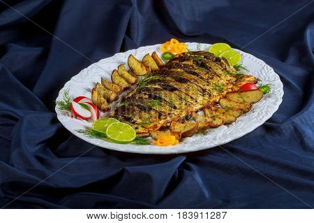 Grilled Baked Fish With Potatoes In The Oven