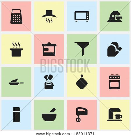 Set Of 16 Editable Food Icons. Includes Symbols Such As Kitchen Glove, Shredder, Soup And More. Can Be Used For Web, Mobile, UI And Infographic Design.
