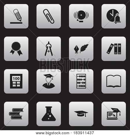Set Of 16 Editable Education Icons. Includes Symbols Such As Diplomaed Male, Calculator, Ring And More. Can Be Used For Web, Mobile, UI And Infographic Design.