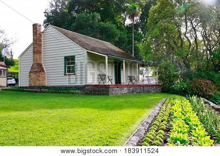 Acacia Cottage, originally built by John Logan Campbell in what is now the CBD of Auckland. It was relocated to Cornwall Park in 1921. It has been furnished with objects from the period