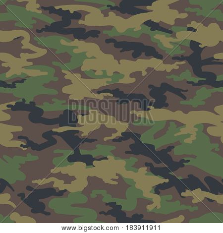 Military army camo background. Vector woodland hunting camoflauge seamless pattern