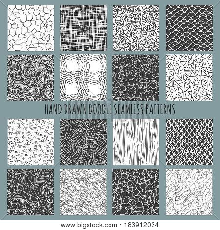 Hand drawn doodle thin line patterns. Vector ink simple freehand seamless pattern set