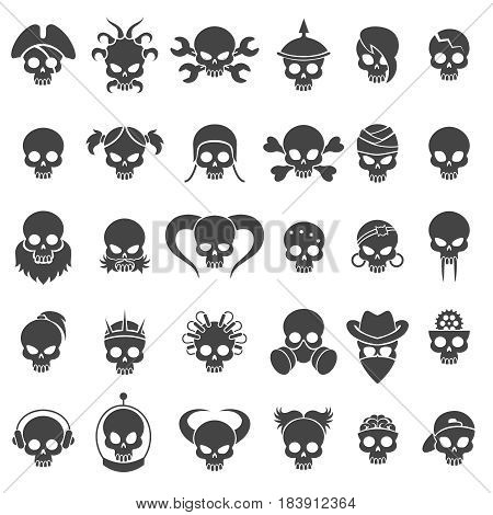 Skull icons vector set. Skulls signs for bikers tattoo, halloween decor and rocker emblems