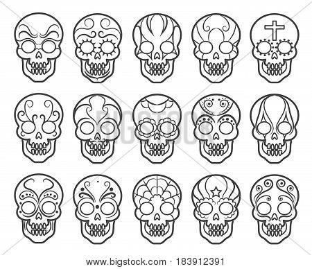 Mexican sugar skull icon set. Spooky day of the dead skulls vector icons for mexico carnival