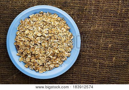 Muesli On A Wooden Table. Muesli Top View . Healthy Food