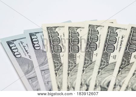Money cash fan,$100 bills on white background