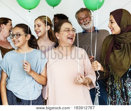 Group of Diverse People with Balloons