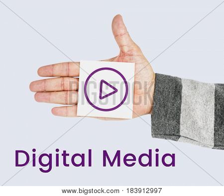 Hand holding network graphic overlay banner