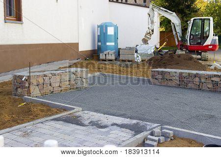 Construction Gabion Wall in village  - Outdoor shot