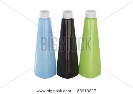 Three plastic bottles isolated on white background