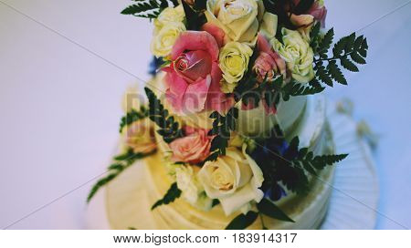 Top View of Wedding Cake Decorated with Beautiful Flowers