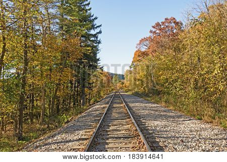 Railroad through the Fall Forest in Devils Lake State Park in Wisconsin