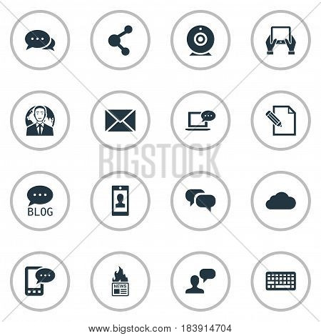 Vector Illustration Set Of Simple Blogging Icons. Elements Man Considering, Laptop, Post And Other Synonyms Keyboard, Man And Considering.