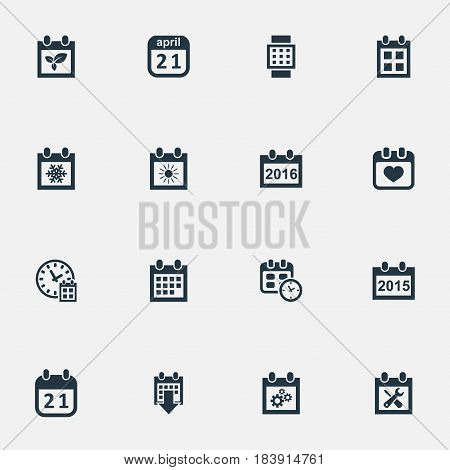 Vector Illustration Set Of Simple Time Icons. Elements History, Almanac, Date Block And Other Synonyms Summer, Gear And Spring.