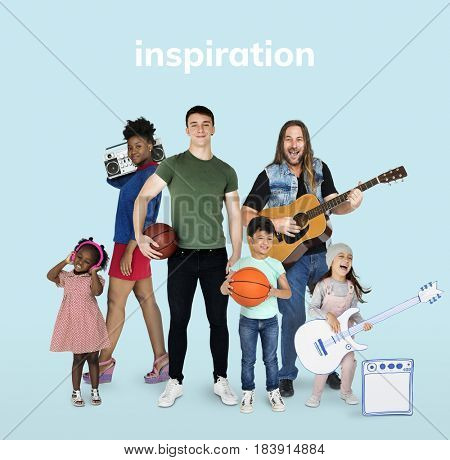 Diversity People with Hobby Music Sport Set Studio Isolated