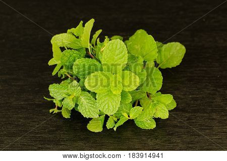 Green peppermint leaves on black background, still life peppermint