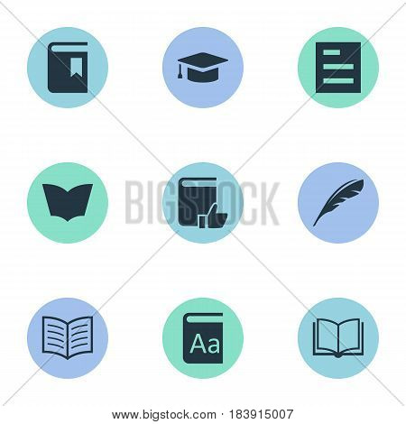Vector Illustration Set Of Simple Books Icons. Elements Book Cover, Alphabet, Academic Cap And Other Synonyms Plume, Page And Catalog.
