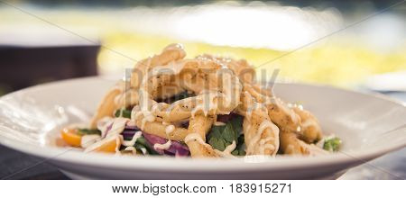 Calamari deep fried served with salad in white bowl on a timber bench.