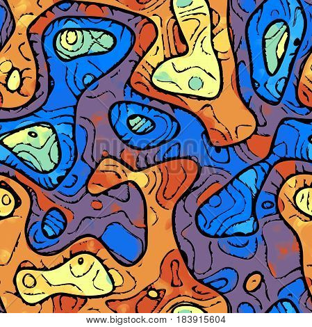 Abstract Seamless Blue Orange Yellow Violet paint blobs texture background.