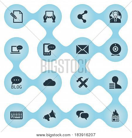 Vector Illustration Set Of Simple Blogging Icons. Elements Overcast, Repair, International Businessman And Other Synonyms Keypad, Message And Globe.