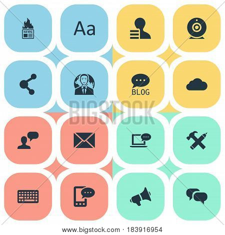 Vector Illustration Set Of Simple User Icons. Elements Broadcast, Gazette, Keypad And Other Synonyms Pencil, E-Letter And Laptop.