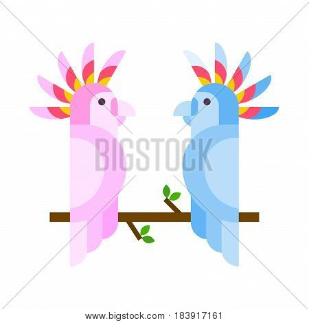 Cartoon tropical parrot wild animal bird vector illustration and wildlife cute feather zoo color nature vivid perch tropics fly fauna couple jungle pretty macaw. Wing bright ara flying colourful.