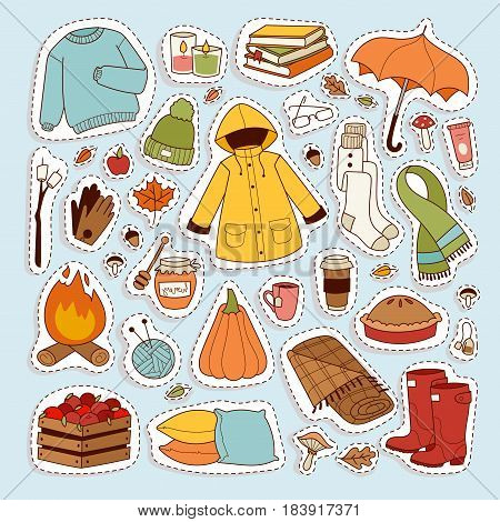Autumn icons stickers hand drawn objects. Fall season decoration. Collection of scrapbook elements for autumn party, farmers market, harvest festival. Autumn icons nature leaf stickers.