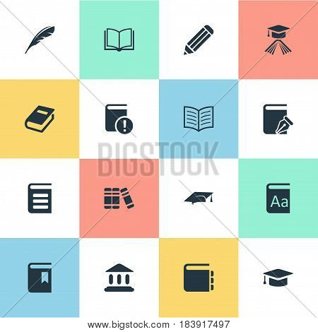 Vector Illustration Set Of Simple Reading Icons. Elements Bookshelf, Academic Cap, Important Reading And Other Synonyms Reading, Write And Academic.