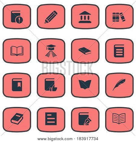 Vector Illustration Set Of Simple Books Icons. Elements Reading, Plume, Sketchbook And Other Synonyms Document, Dictionary And Notebook.