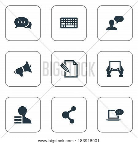 Vector Illustration Set Of Simple Blogging Icons. Elements Document, Share, Man Considering And Other Synonyms Gain, Considering And Keypad.