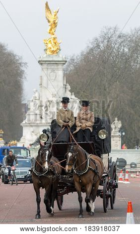 London, UK - March 16, 2017:  English traditional Coach of 19th century with two horses and coachman riding in front of Buckingham palace
