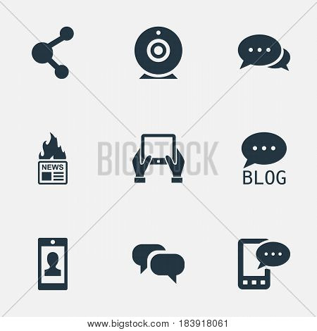 Vector Illustration Set Of Simple Blogging Icons. Elements Notepad, E-Letter, Site And Other Synonyms Gossip, E-Letter And Profile.