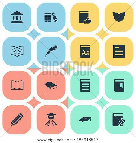 Vector Illustration Set Of Simple Education Icons. Elements Book Cover, Plume, Notebook And Other Synonyms Hat, Plume And Pen.