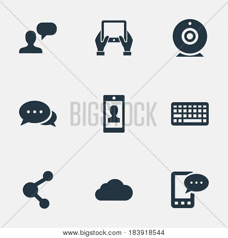 Vector Illustration Set Of Simple Blogging Icons. Elements Notepad, Broadcast, Overcast And Other Synonyms Considering, Hand And Web.