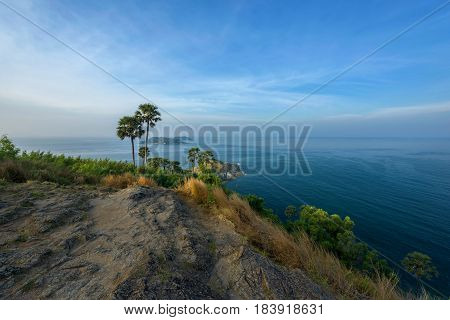 Phromthep cape viewpoint in PhuketThailand with blue sky