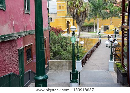 View of the Bridge of Sighs in Barranco a district in the south of Lima, Peru